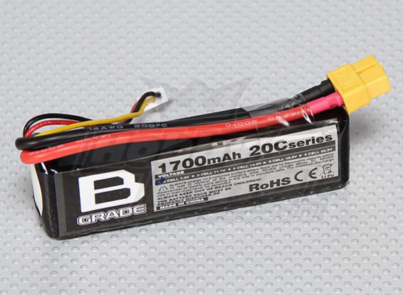 B级1700mAh的2S 20C Lipoly电池
