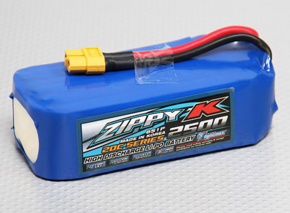 比比-K Flightmax 2500mAh的6S1P 20C Lipoly电池