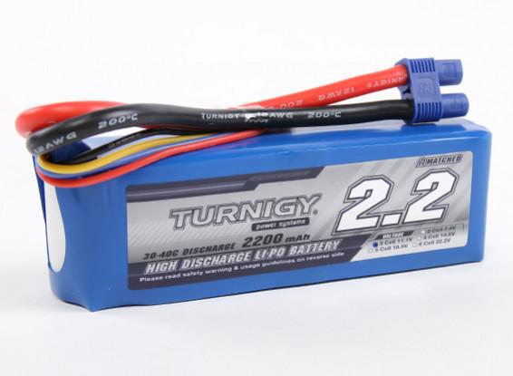 Turnigy 2200mAh的3S 30C前列包与EC3插头(E-Flite公司兼容EFLB21003S)