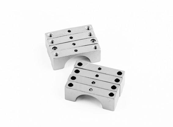 银色阳极双面CNC铝合金管夹直径14mm