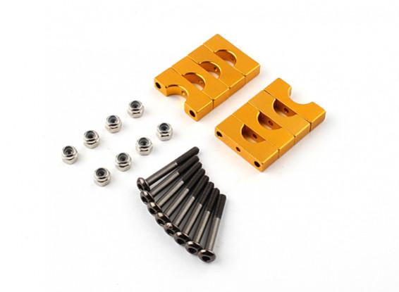 金阳极氧化双面CNC铝合金管夹直径8mm