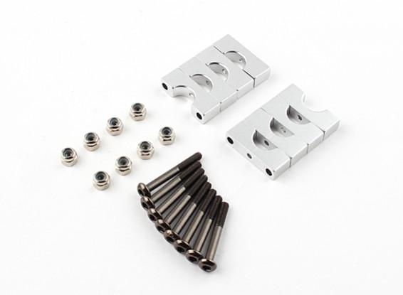 银色阳极双面CNC铝合金管夹直径8mm