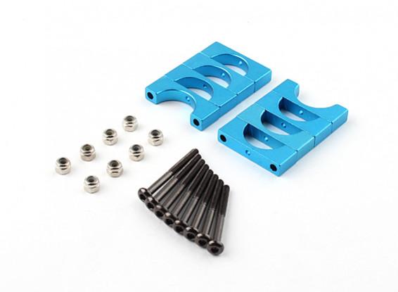 蓝色阳极氧化双面CNC铝合金管夹直径15mm