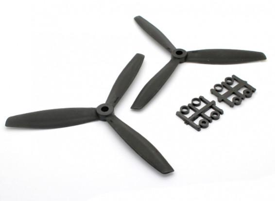 GemFan 6040塑料3叶螺旋桨顺时针/逆时针设置黑(1对)