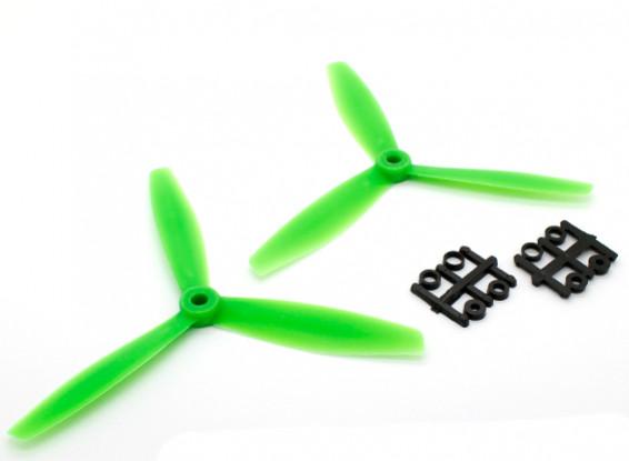 GemFan 6040塑料3叶螺旋桨顺时针/逆时针树立绿色(1对)