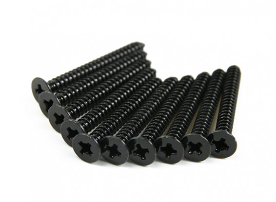 Screw Flat Head Phillips M2.6x24mm Self Tapping Steel Black (10pcs)