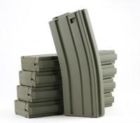 国王武器120rounds杂志的丸井M4 / M16 AEG系列(橄榄色,5件/箱)