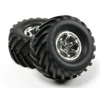 HobbyKing®™1/10履带和怪物卡车135毫米车轮和轮胎(银RIM)(2个)