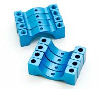 蓝色阳极氧化数控半圆合金管夹(incl.screws)14毫米