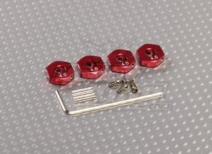红色铝合金轮毂适配器与锁螺钉 - 4毫米(12毫米十六进制)