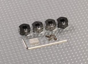 与锁螺钉钛金色铝轮毂适配器 -  7毫米(12毫米十六进制)