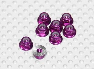 紫阳极氧化铝M3 NYLOCK轮毂螺母W /锯齿法兰(8件)