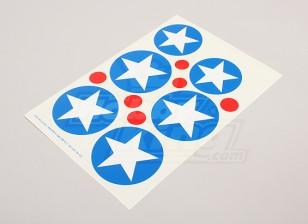 规模国家空军徽章贴纸表 - 美国(B型)