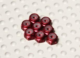 红色阳极氧化铝M2 NYLOCK螺母(8件)