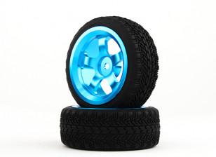 HobbyKing 1/10铝合金5辐12毫米六角轮(蓝色)/ W轮胎26毫米(2件/袋)