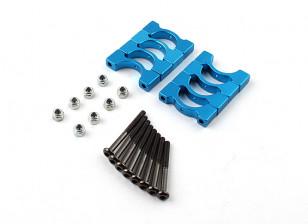 蓝色阳极氧化CNC超级轻合金管夹直径14mm(4设置)