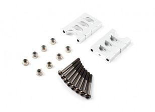 银色阳极双面CNC铝合金管夹10mm外径