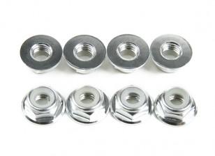铝法兰薄型螺母Nyloc银M5(CW)8片