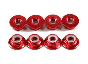 铝法兰薄型螺母Nyloc M5红(CCW)8片