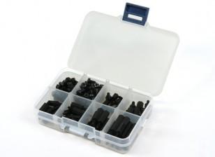 M3尼龙垫片螺杆螺帽什锦包瓦特/盒(黑色)(180pcs)