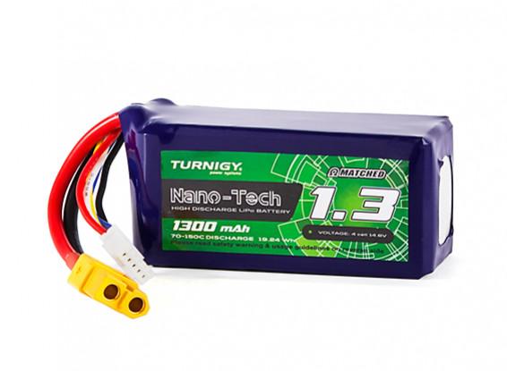 Turnigy Nano-Tech 1300mAh 4S 70C Lipo Pack w/XT60 (HR Technology)