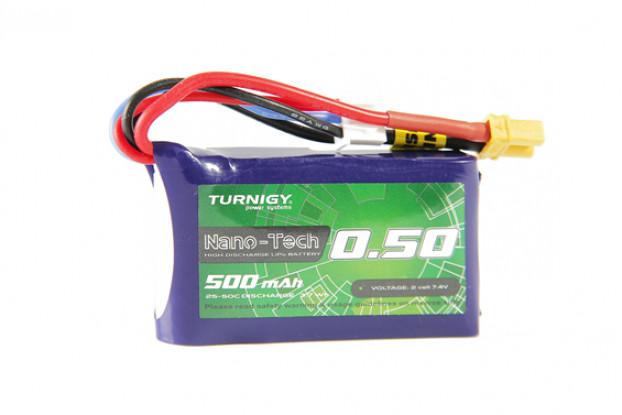 Turnigy Nano-Tech 500mAh 2S 25C Lipo Pack w/XT30