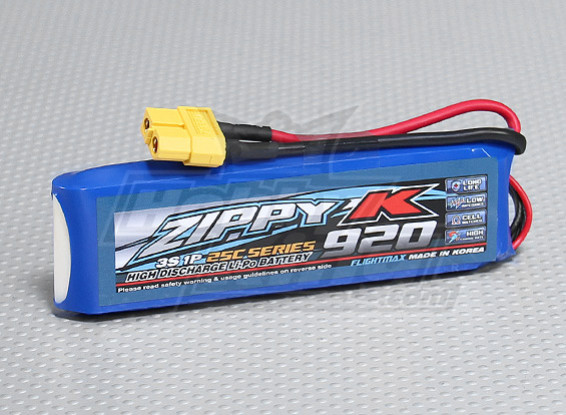 Batterie Zippy-K FlightMax 920mAh 3S1P 25C Lipoly
