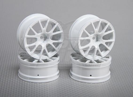 Échelle 1:10 Wheel Set (4pcs) Blanc 12-Spoke 26mm de voiture RC (3mm offset)