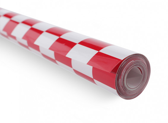 Revêtement Film Chequer travail Rouge / Blanc Petit (20mm) Carrés (5mtr)