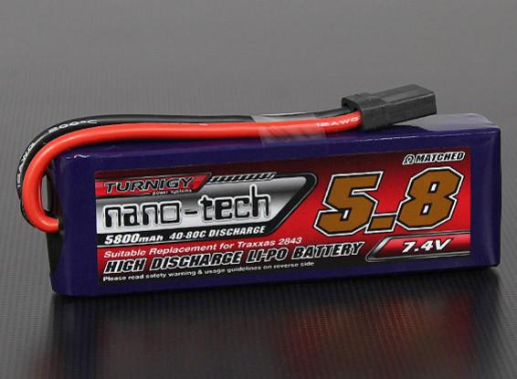 Turnigy nano-tech 5800mAh 2S 40 ~ 80C Lipo pack Traxxas compatibles