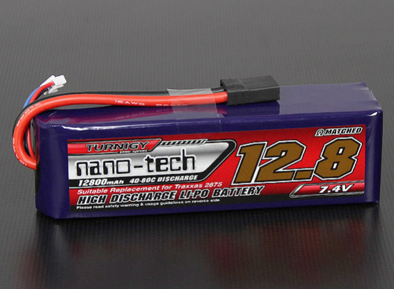 Turnigy nano-tech 12800mah 2S 40 ~ 80C Lipo Pack (Summit / E-Revo / E-Maxx Compatible)