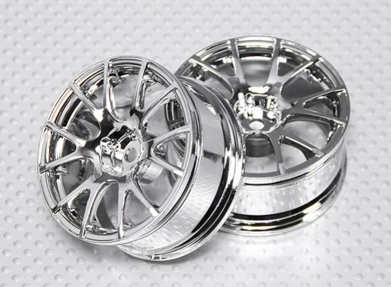 Échelle 1:10 Set de roue (2pcs) Chrome de Split 6-Spoke RC 26mm de voiture (3mm offset)