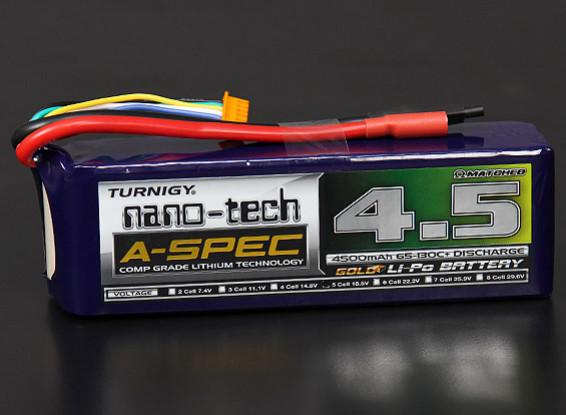 Turnigy nano-tech A-SPEC 4500mAh 5S 65 ~ 130C Lipo Paquet