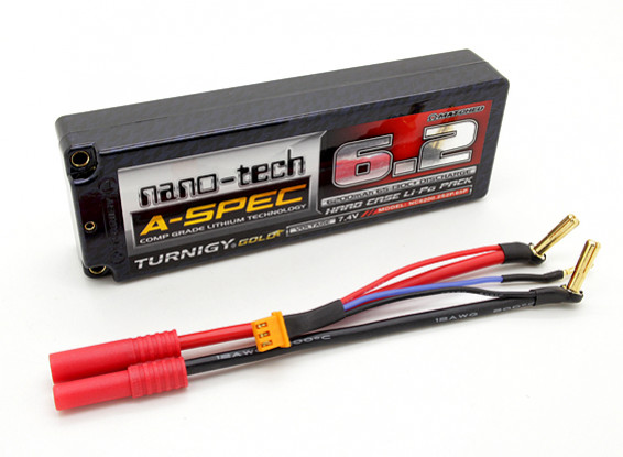 Turnigy nano-tech A-SPEC 6200mah 2S 65 ~ 130C Hardcase Lipo Paquet