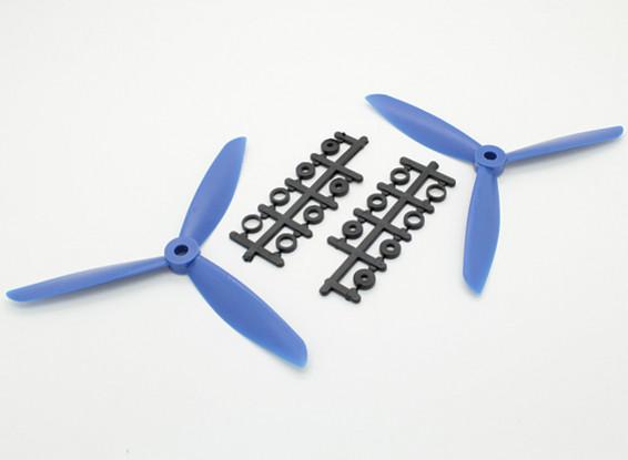 HobbyKing ™ 3-Blade Hélice 6x4,5 Bleu (CW / CCW) (2pcs)
