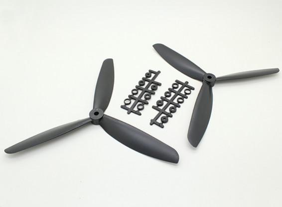 HobbyKing ™ 3-Blade Hélice 9x4.5 Noir (CW / CCW) (2pcs)
