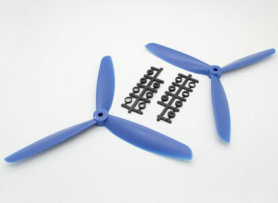 HobbyKing ™ 3-Blade Hélice 9x4.5 Bleu (CW / CCW) (2pcs)