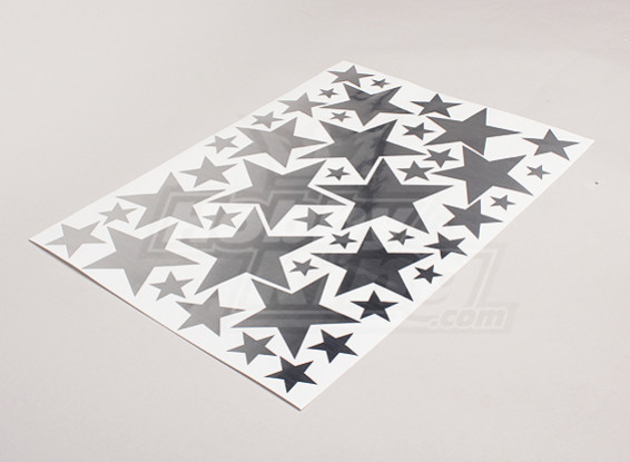 Etoiles Brushed Alloy Effet différentes tailles Decal Sheet 425mmx300mm