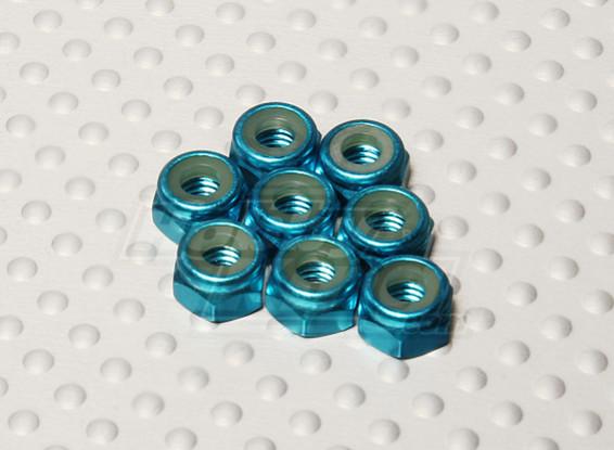 Bleu Aluminium anodisé M4 Nylock Nuts (8pcs)