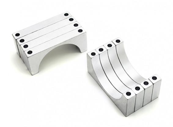 Argent anodisé CNC en aluminium 5mm Tube Clamp 28mm Diamètre
