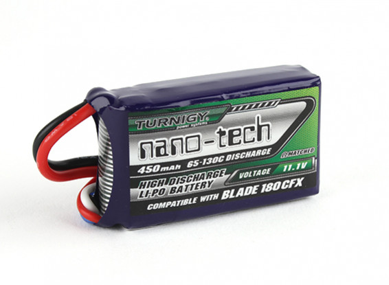 Turnigy nano-tech 450mAh 3S 65C Lipo (E-flite Compatible lame 180CFX EFLB4503SJ30)