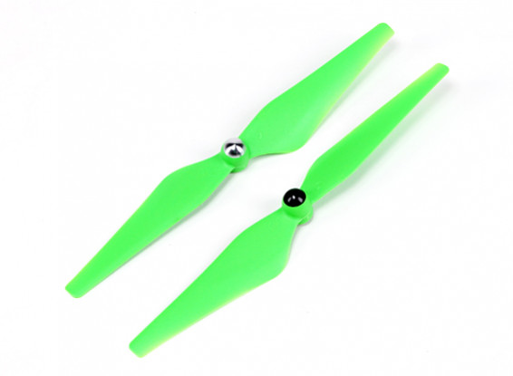 HobbyKing ™ Self serrage Hélice 9x4.5 Green (CW / CCW) (2pcs)
