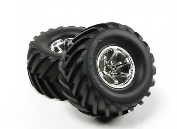 HobbyKing ® ™ 1/10 Crawler & Monster Truck 135mm roues et pneus (Silver Rim) (2pcs)