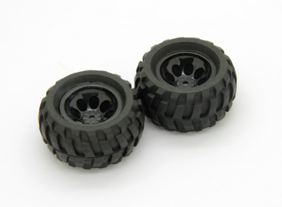 Pré-Collé Tire et assemblage de la roue (2pcs) - Basher Rocksta 1/24 4WS Mini Rock Crawler