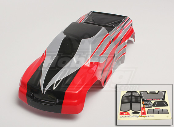 Shell Body 1/10 Monster Truck Pre-Painted - Rouge / Argent / Noir