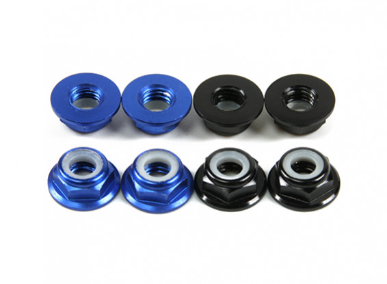Aluminium Bride Low Profile Nyloc Nut M5 (4 Black CW & 4 Bleu CCW)