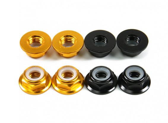 Aluminium Bride Low Profile Nyloc Nut M5 (4 Black CW & 4 Gold CCW)