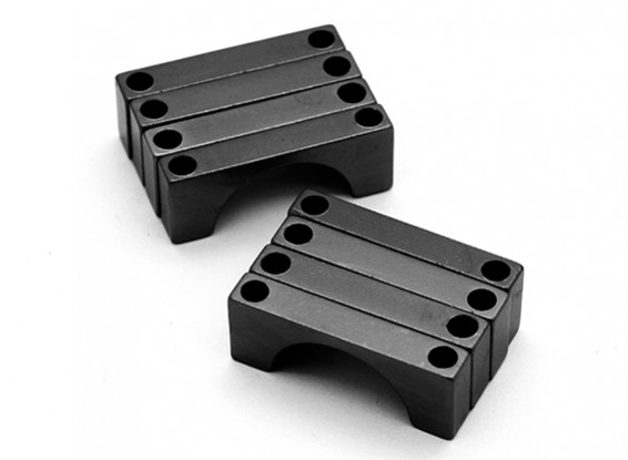 Noir anodisé CNC DemiCercle alliage Tube Clamp (incl.screws) 22mm