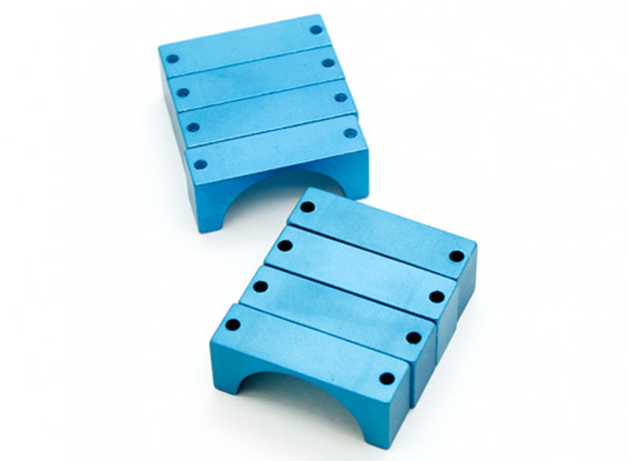 Bleu anodisé CNC DemiCercle alliage Tube Clamp (incl.screws) 28mm