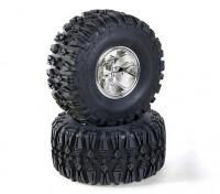 HobbyKing 1/10 Truck Rock Crawler 130mm Wheel & Tire (Silver Rim) (2pcs)